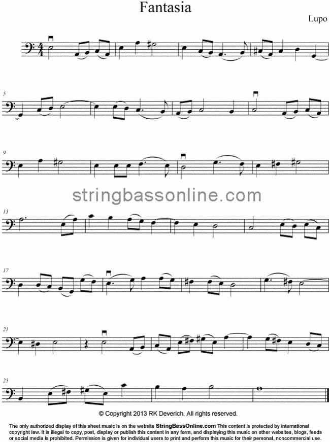 All Music Chords music sheet online free : String Bass Online Free Bass Sheet Music - Fantasia by Thomas Lupo