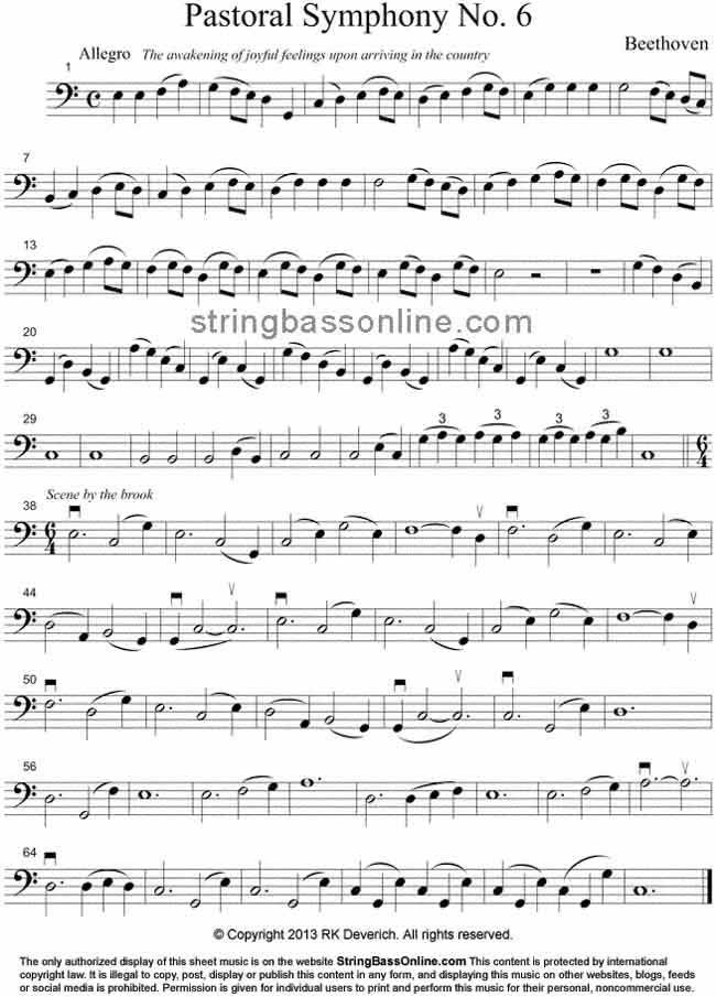All Music Chords music sheet online free : String Bass Online Free Bass Sheet Music - Beethoven's Pastoral ...